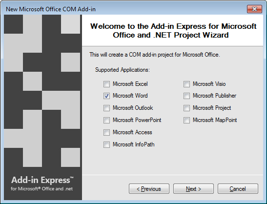 Selecting Microsoft Word as the only supported application