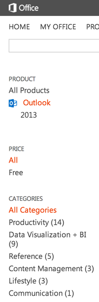 Outlook apps in the Office App Store