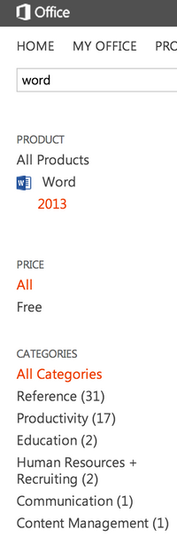 Word apps in the Office App Store