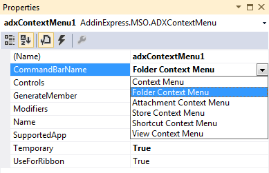 Choose Outlook context for your context menu