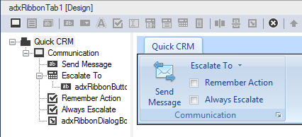 A custom Outlook ribbon tab at design time