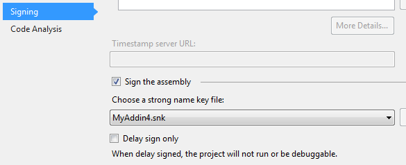 The wizard automatically signs your assembly using either the existing or a new strong name