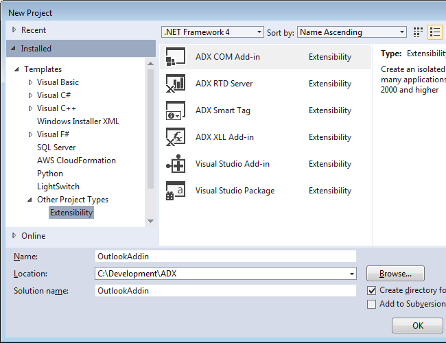 Visual Studio project templates provided by Add-in Express