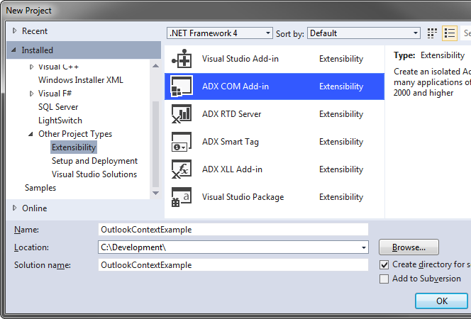 Creating a new Outlook add-in project in Visual Studio 2012