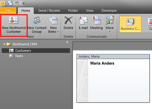 The customized native Outlook 'New Contact' button