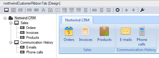 The design for the custom Outlook Ribbon tab