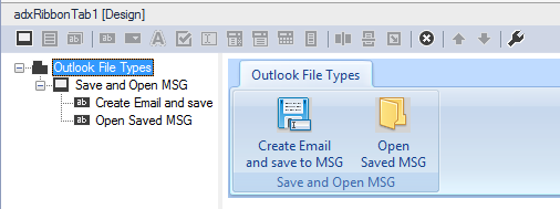 The final design of the custom Outlook ribbon tab