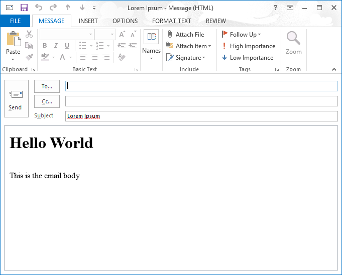 The saved e-mail message is displayed in Outlook 2013.
