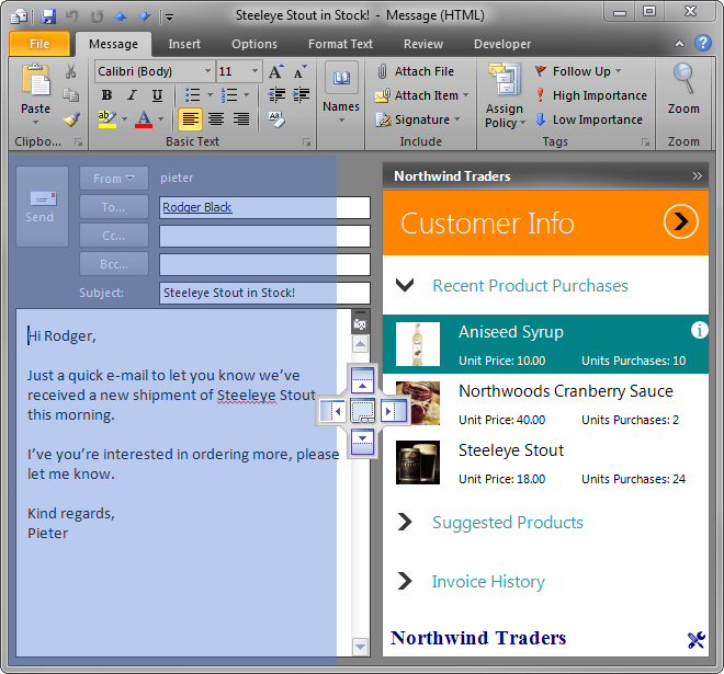Visual cues show the user all available locations for the custom Outlook form