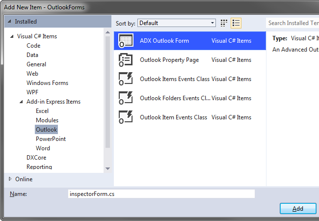Add-in Express Outlook Form template in Visual Studio 2012