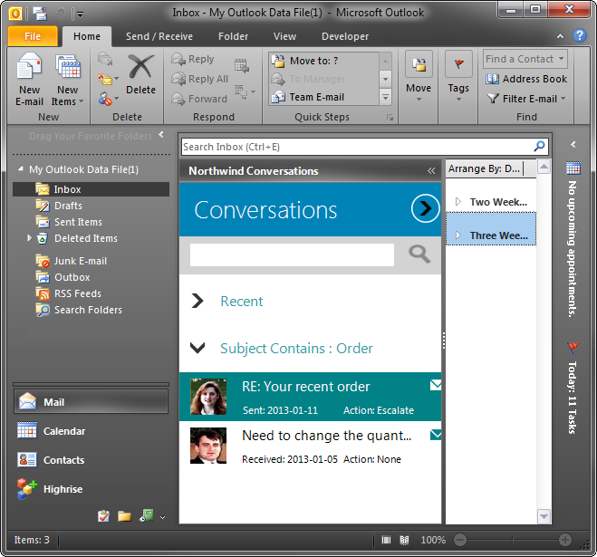 A custom form on the left sub pane in Outlook 2010