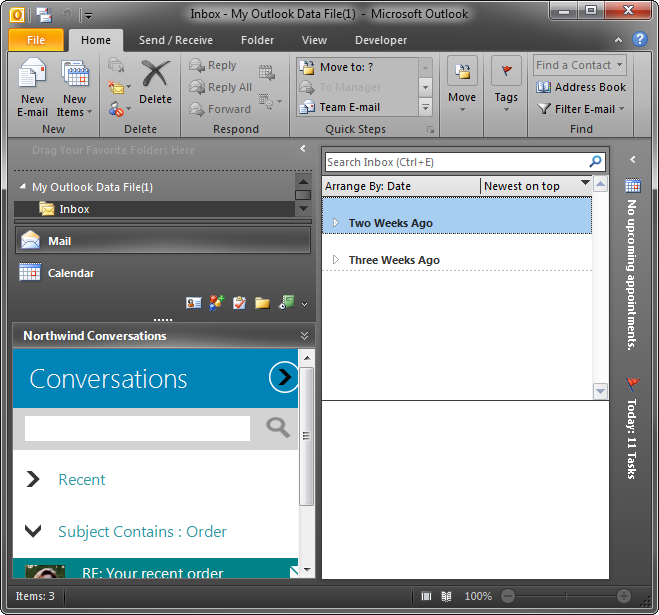 A custom form at the bottom of the Navigation Pane in Outlook 2010