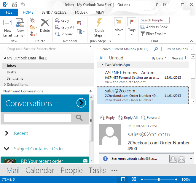 A custom form at the bottom of the Navigation Pane in Outlook 2013