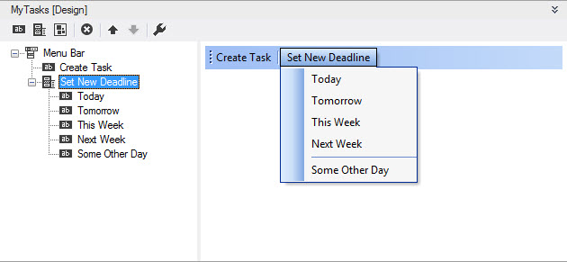 A customized Outlook main menu at design time