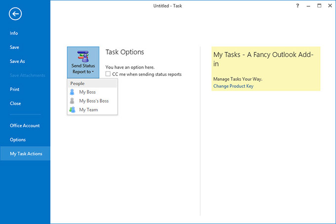 A custom Backstage view of a task item in Outlook 2013