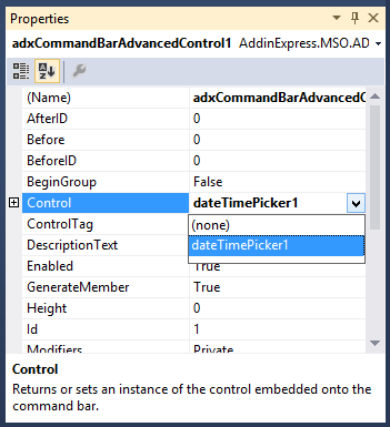 Selecting the DateTime Picker control
