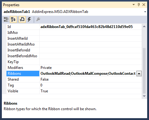 Configuring Configuring the Ribbons property to specify where your custom ribbon tab should be displayed in Outlook