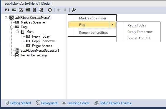 Add-in Express designer for customizing the context menu