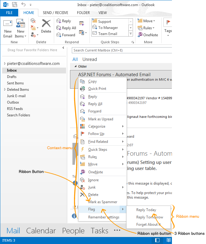 Custom items added to the context menu in Outlook 2013