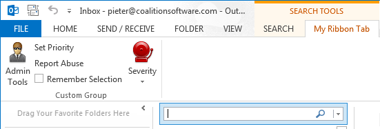 A context-sensitive ribbon for the Outlook search box