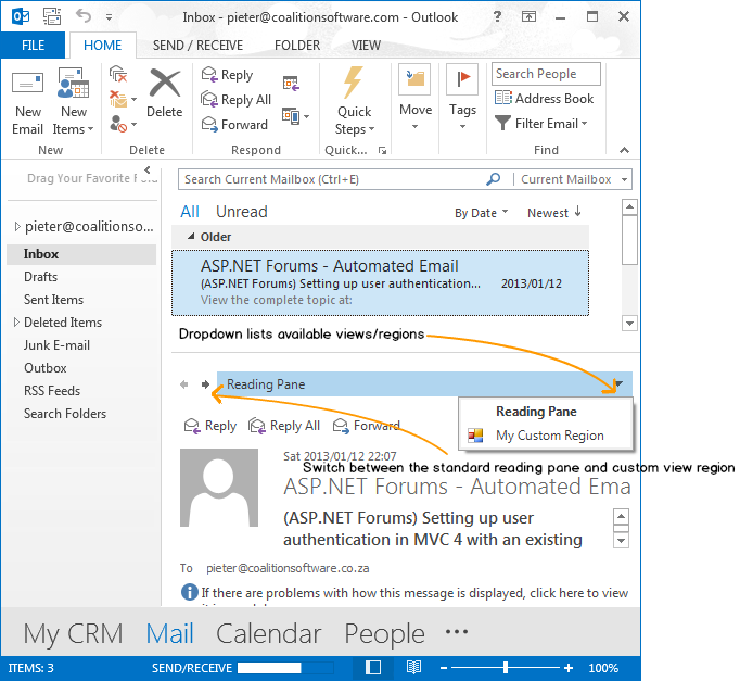 Customizing the Outlook Reading Pane