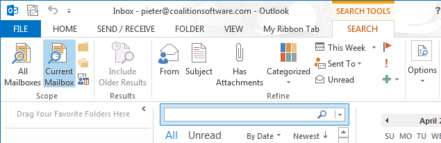 A custom ribbon for the Outlook Search tab