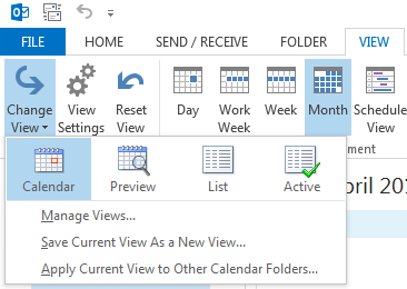 Build-in Outlook views are accessible via the View tab