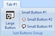 A custom Outlook ribbon group with 4 buttons