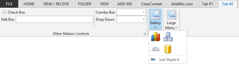 A custom ribbon tab with non-button controls in Outlook 2013