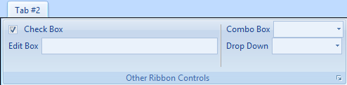 A custom Outlook ribbon group with a combo box, drop-down, check box and edit box controls