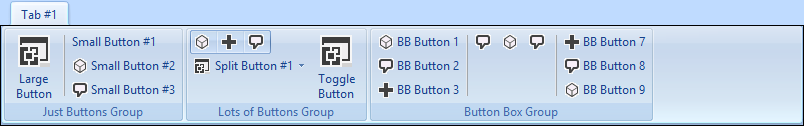 A custom Outlook ribbon tab with all sorts of buttons at design time