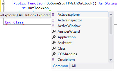 A list of Outlook application methods and properties in Visual Studio IntelliSense