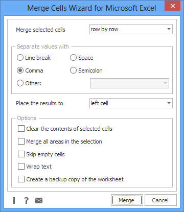 The main window of Merge Cells Wizard for Excel