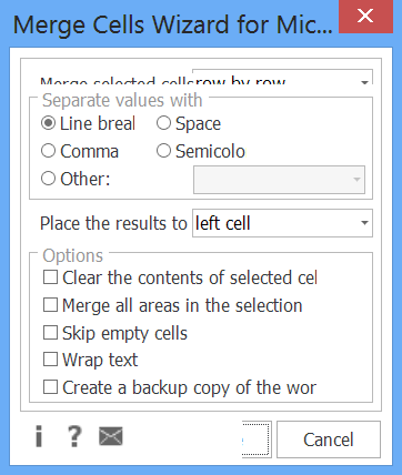 Merge Cells Wizard on Windows 8, 150% text size