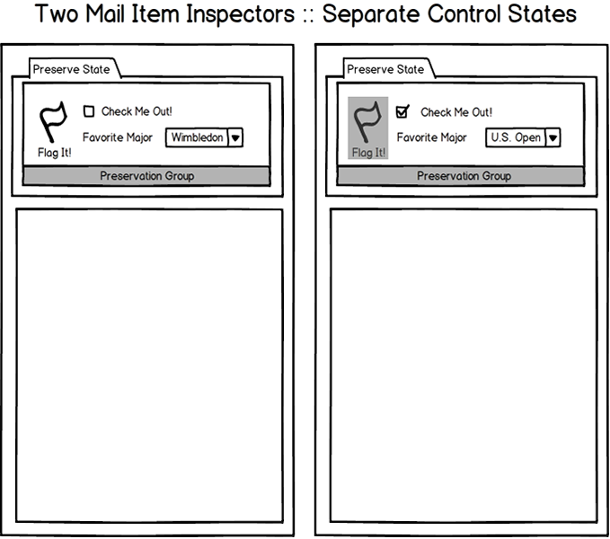 Two Outlook inspector windows maintaining separate control states