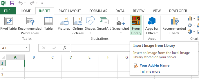 A custom button added to the Illustration group in Excel 2013