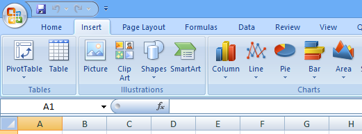 The Illustrations group in Excel 2007