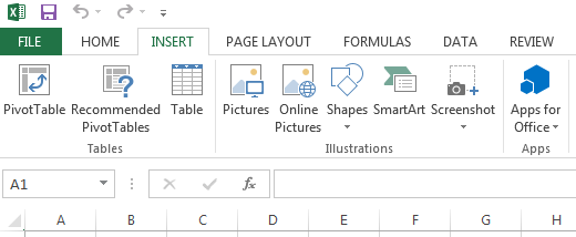 The Illustrations group in Excel 2013