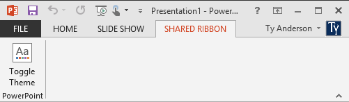 The shared ribbon in PowerPoint 2013
