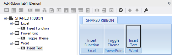 The shared ribbon at design time