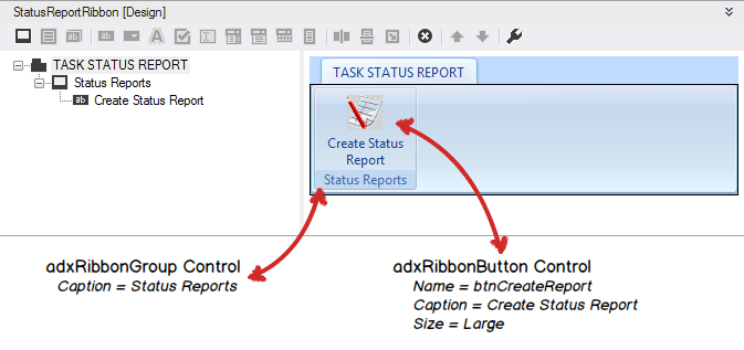 Designing a custom ribbon for the Excel Task Status Report add-in