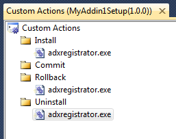 Three custom actiona that call adxregistrator.exe with different arguments