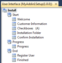Visual Studio setup project's user interface options