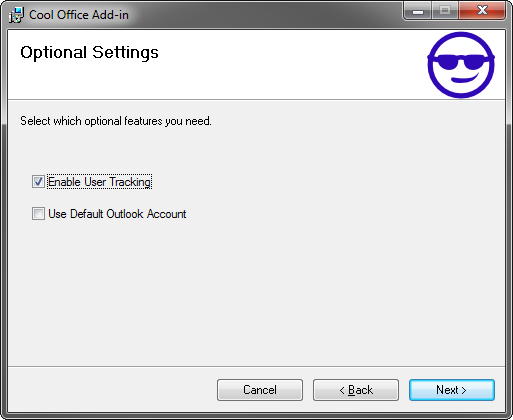 Visual Studio setup project's optional settings