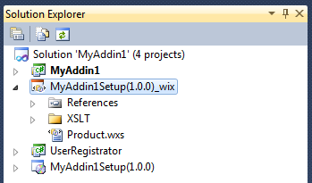 A ready to use WiX setup project is generated for your solution