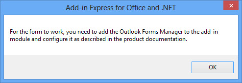 The Outlook Forms Manager warning