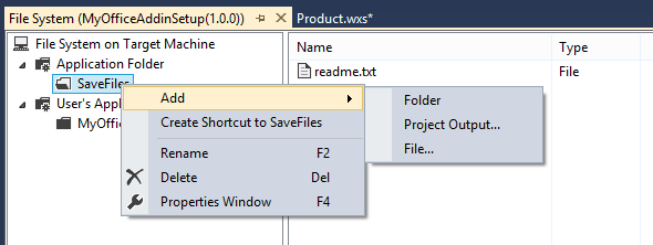Using the File System Editor you can create folders, add files and create shortcuts