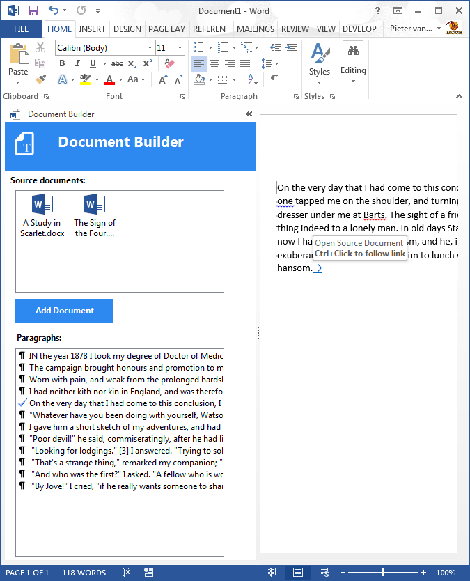 The Document Builder add-in in Word 2013