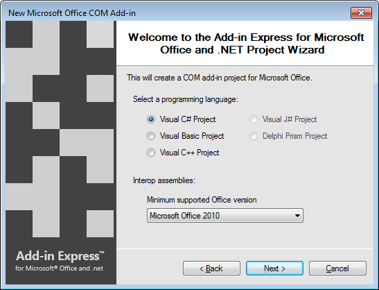 Selecting the programming language and the minimum supported Office version