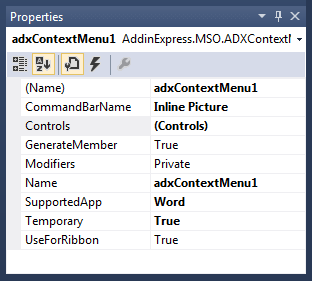 Configuring the properties of the custom context menu
